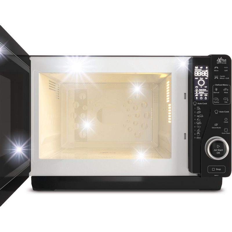 Whirlpool-Four-micro-ondes-Pose-libre-MWF-421-BL-Noir-Electronique-25-Micro-ondes---gril-800-Frontal-open