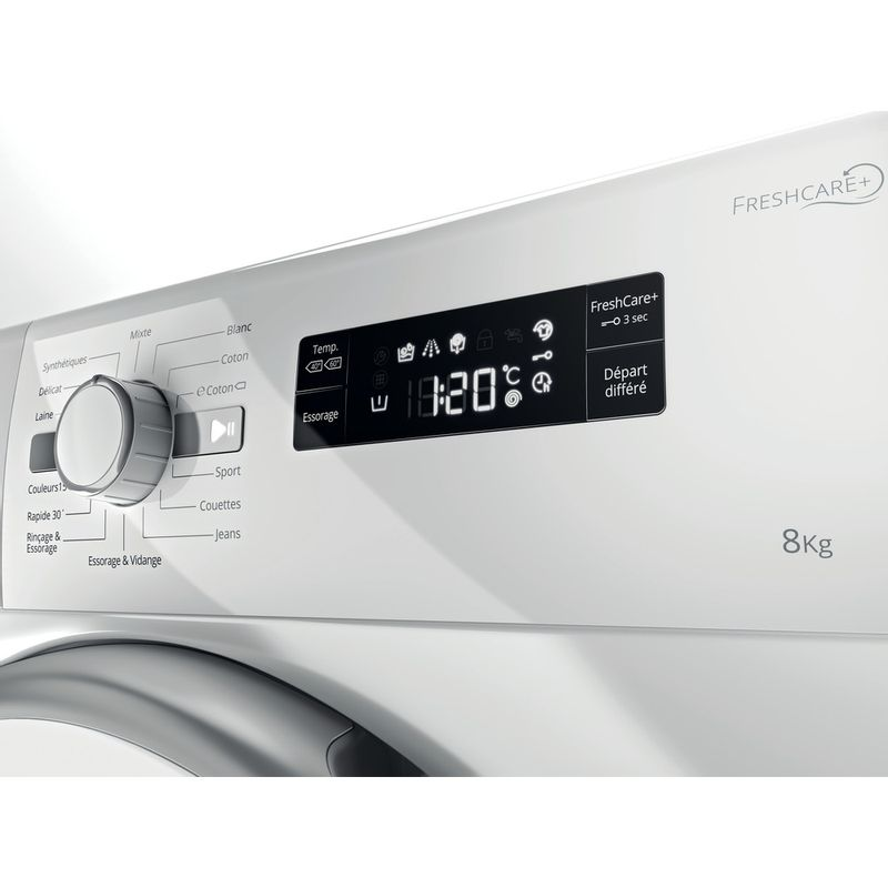 Whirlpool-Lave-linge-Pose-libre-FWF81483WS-FR-Blanc-Lave-linge-frontal-A----Control-panel