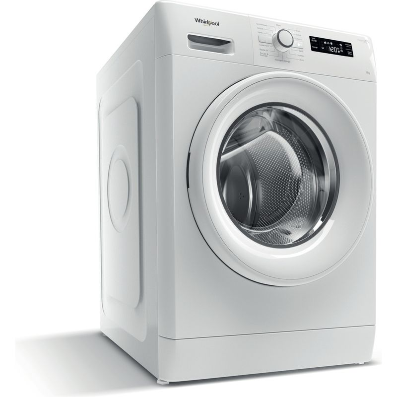 Whirlpool-Lave-linge-Pose-libre-FWFB81483W-FR-Blanc-Lave-linge-frontal-A----Perspective