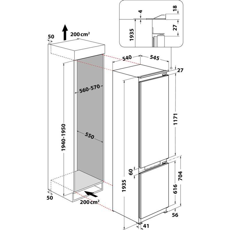 Whirlpool-Combine-refrigerateur-congelateur-Encastrable-ART-9620-A--NF-Blanc-2-portes-Technical-drawing