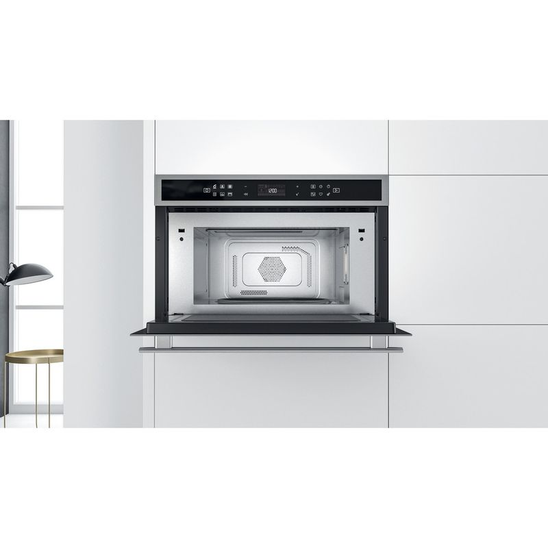 Whirlpool-Four-micro-ondes-Encastrable-W6-MD460-Acier-inoxydable-Electronique-31-Micro-ondes-Combine-1000-Lifestyle-frontal-open