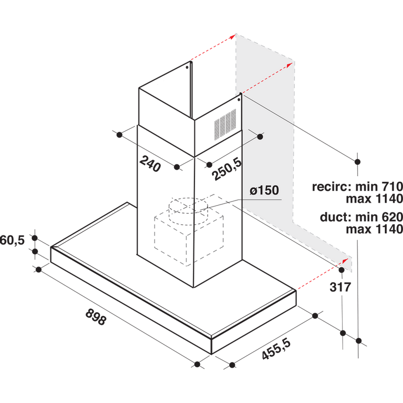 Whirlpool-Hotte-Encastrable-WHBS-92F-LT-K-Inox-Mural-Electronique-Technical-drawing