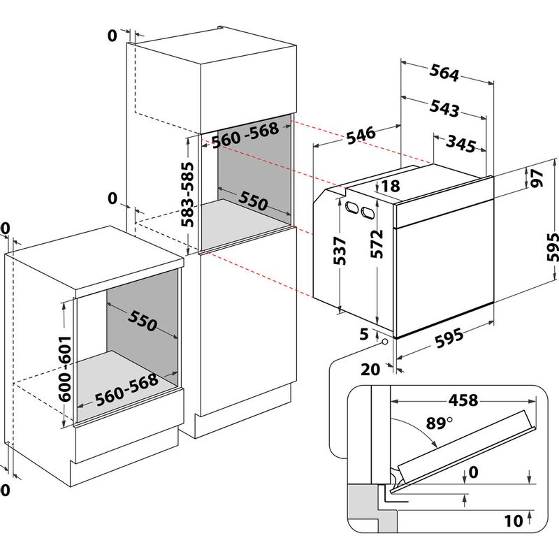 Whirlpool-Four-Encastrable-OAKZ9-1395-P-IX-Electrique-A--Technical-drawing