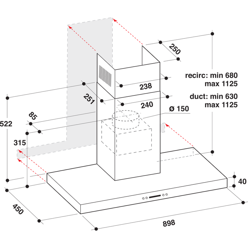 Whirlpool-Hotte-Encastrable-WHBS-93-F-LE-X-Inox-Mural-Electronique-Technical-drawing