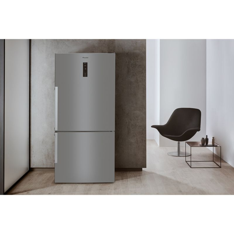 Whirlpool-Combine-refrigerateur-congelateur-Pose-libre-W84BE-72-X-Inox-2-portes-Lifestyle-frontal