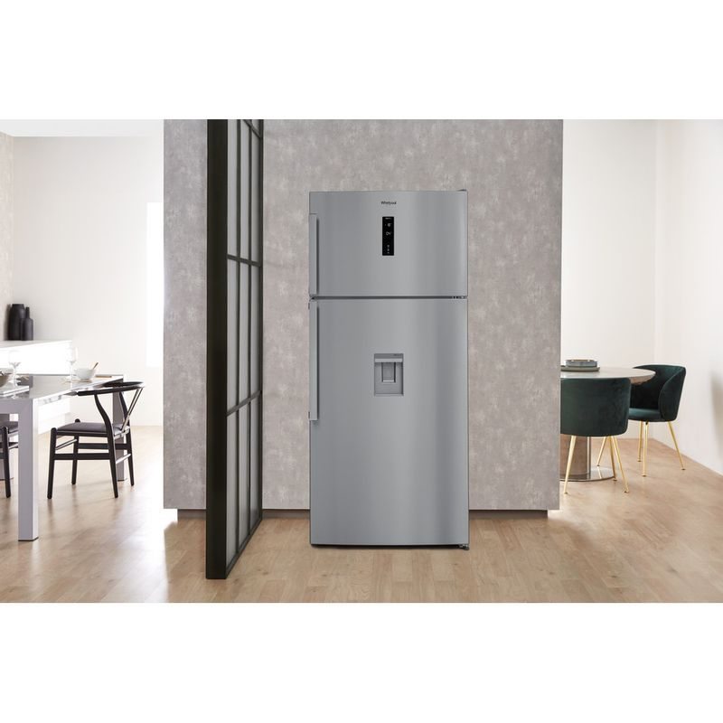 Whirlpool-Combine-refrigerateur-congelateur-Pose-libre-W84TE-72-X-AQUA-Inox-2-portes-Lifestyle-frontal