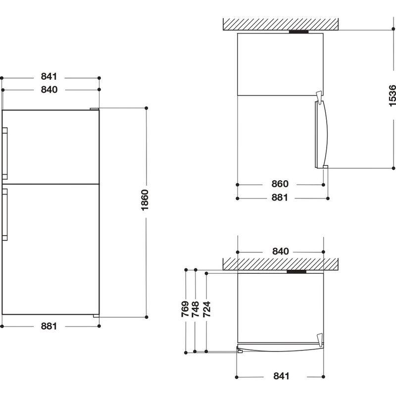 Whirlpool-Combine-refrigerateur-congelateur-Pose-libre-W84TE-72-X-AQUA-Inox-2-portes-Technical-drawing