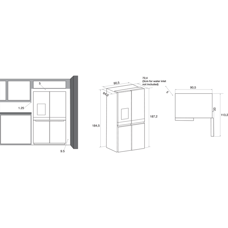 Whirlpool-Americain-Pose-libre-WQ9I-MO1L-Inox-Technical-drawing
