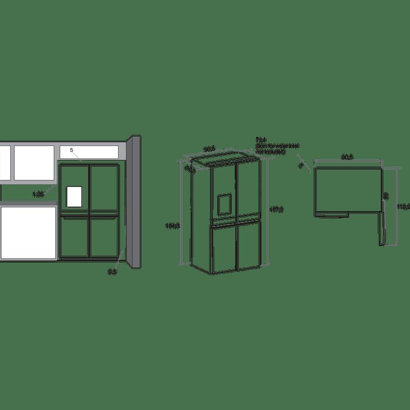 Whirlpool-Americain-Pose-libre-WQ9I-FO1BX-Acier-noir-Technical-drawing
