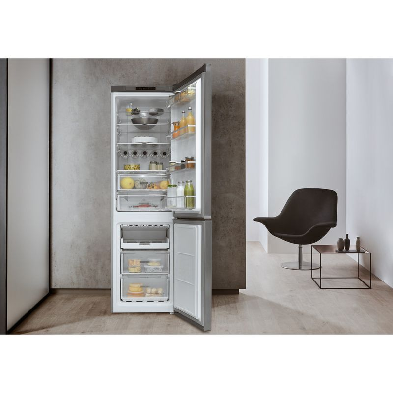 Whirlpool-Combine-refrigerateur-congelateur-Pose-libre-W7-911I-OX-Optic-Inox-2-portes-Lifestyle-frontal-open