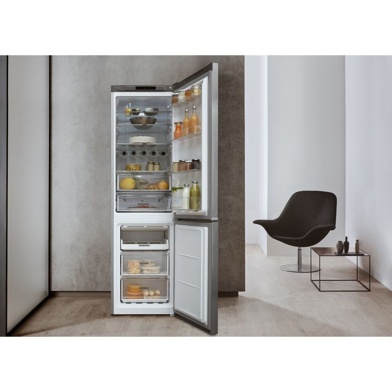 Whirlpool-Combine-refrigerateur-congelateur-Pose-libre-W7-921I-OX-Optic-Inox-2-portes-Lifestyle-frontal-open