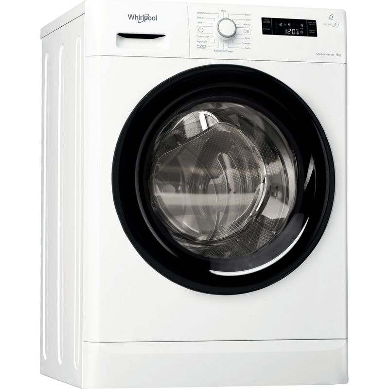 Whirlpool-Lave-linge-Pose-libre-FWFD91483BFR-Blanc-Lave-linge-frontal-A----Perspective