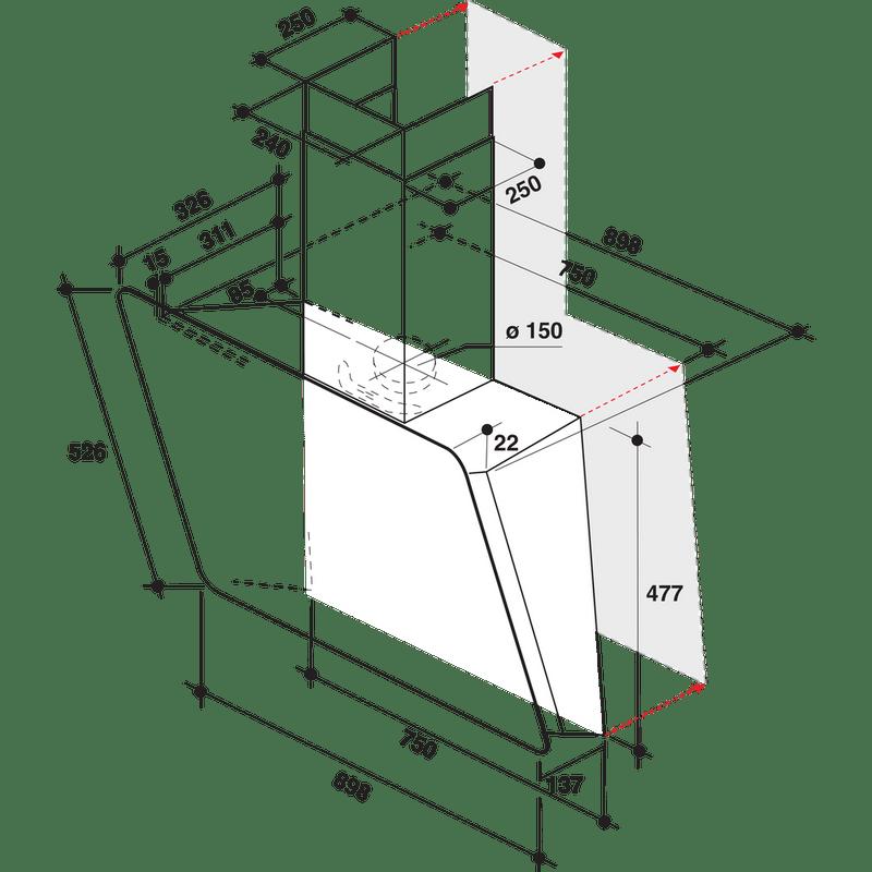 Whirlpool-Hotte-Encastrable-WHVS-92F-LT-K-Noir-Mural-Electronique-Technical-drawing