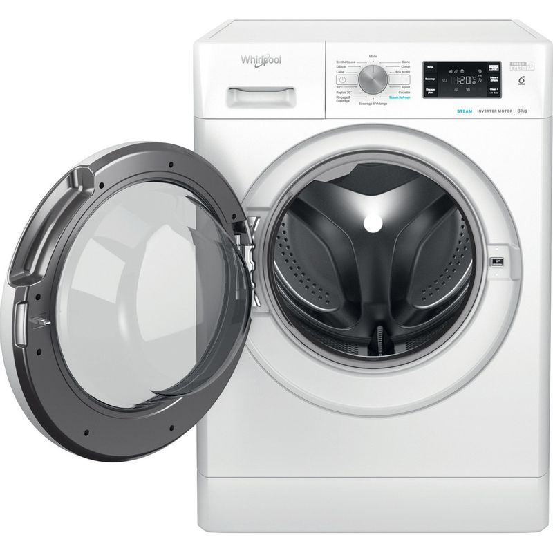 Whirlpool-Lave-linge-Pose-libre-FFBS-8448-WV-FR-Blanc-Lave-linge-frontal-C-Frontal-open