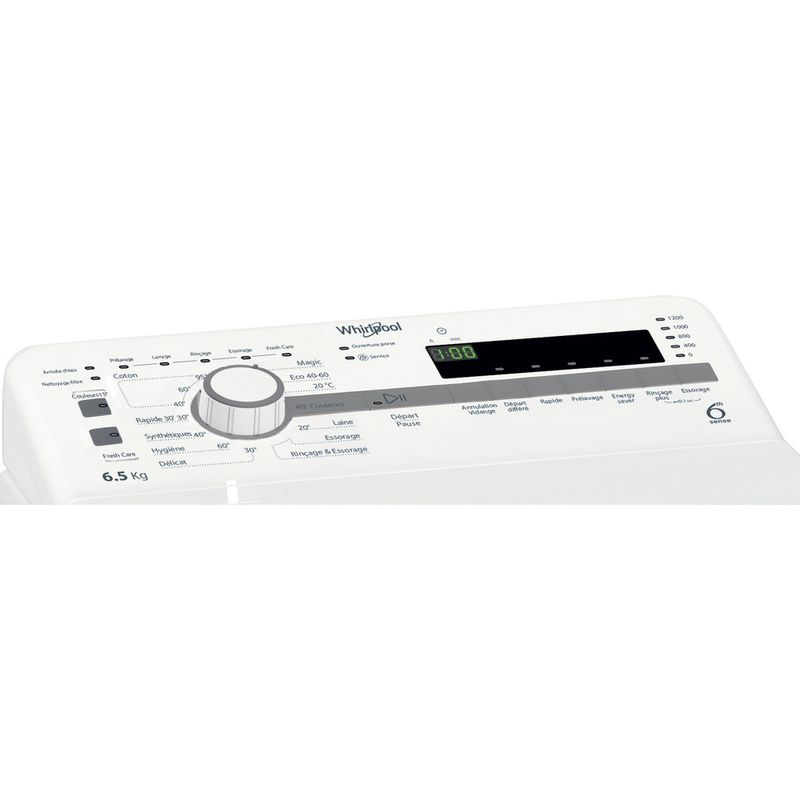 Whirlpool-Lave-linge-Pose-libre-TDLR-65230S-FRN-Blanc-Lave-linge-top-D-Control-panel