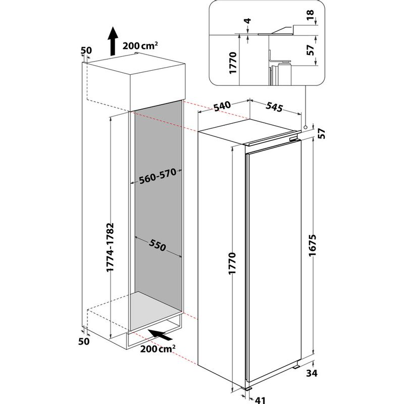 Whirlpool-Refrigerateur-Encastrable-ARG-18081-Blanc-Technical-drawing