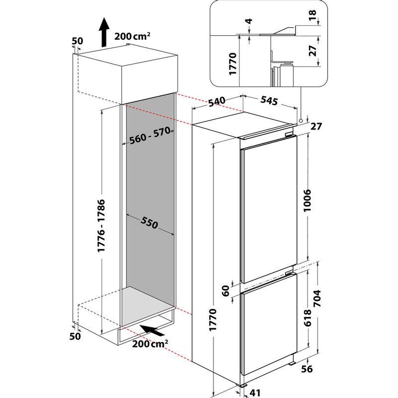 Whirlpool-Combine-refrigerateur-congelateur-Encastrable-ART-890-A---NF-Blanc-2-portes-Technical-drawing