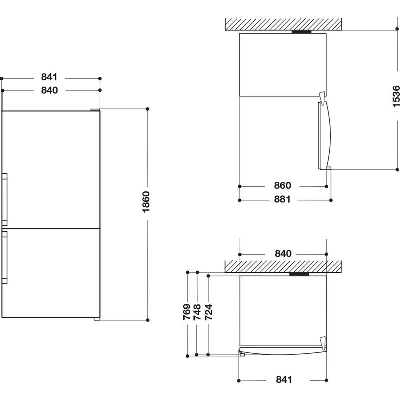 Whirlpool-Combine-refrigerateur-congelateur-Pose-libre-W84BE-72-X-2-Inox-2-portes-Technical-drawing