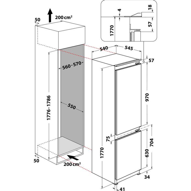 Whirlpool-Combine-refrigerateur-congelateur-Encastrable-ART-6614-SF1-Blanc-2-portes-Technical-drawing