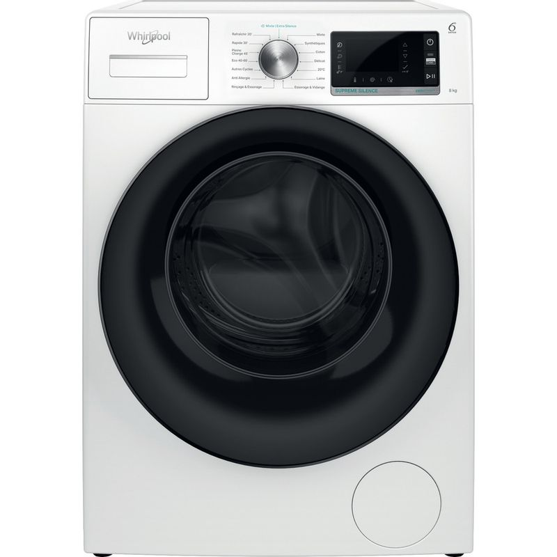 Whirlpool-Lave-linge-Pose-libre-W6-W845WB-FR-Blanc-Lave-linge-frontal-B-Frontal