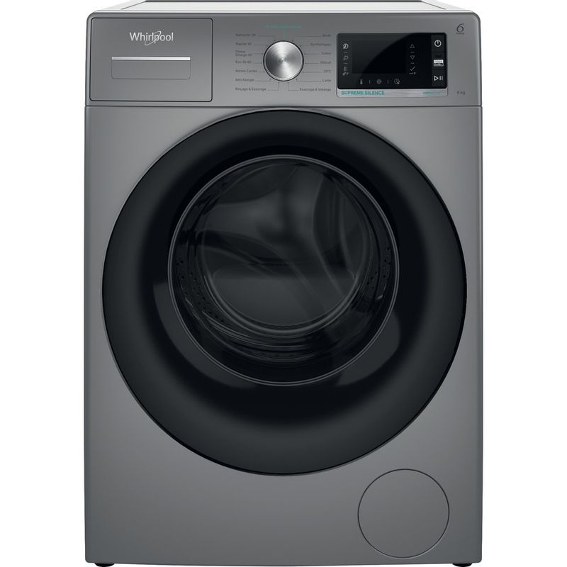 Whirlpool-Lave-linge-Pose-libre-W6-W845SB-FR-Argent-Lave-linge-frontal-B-Frontal