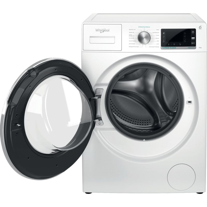 Whirlpool-Lave-linge-Pose-libre-W6X-W845WR-FR-Blanc-Lave-linge-frontal-B-Frontal-open