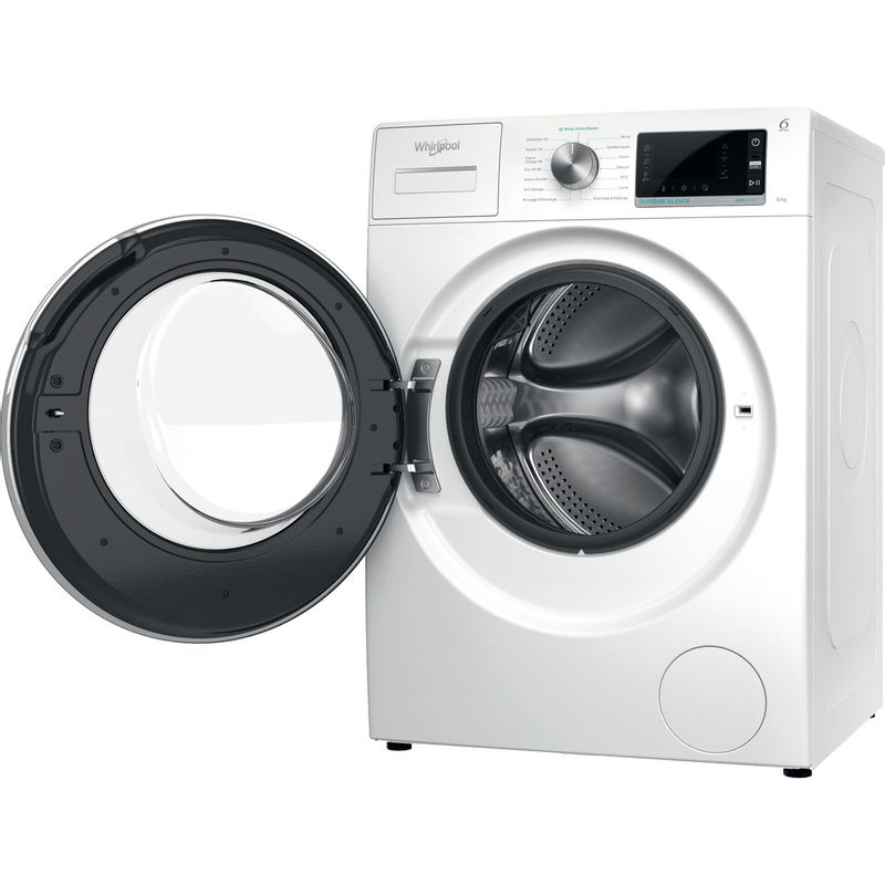 Whirlpool-Lave-linge-Pose-libre-W6X-W845WR-FR-Blanc-Lave-linge-frontal-B-Perspective-open
