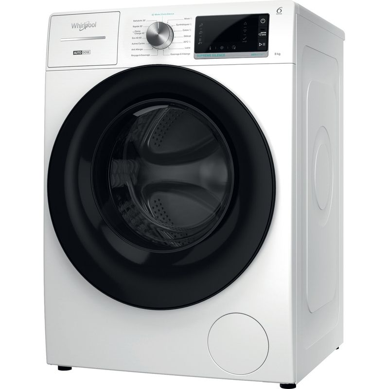 Whirlpool-Lave-linge-Pose-libre-W8-W846WB-FR-Blanc-Lave-linge-frontal-A-Perspective