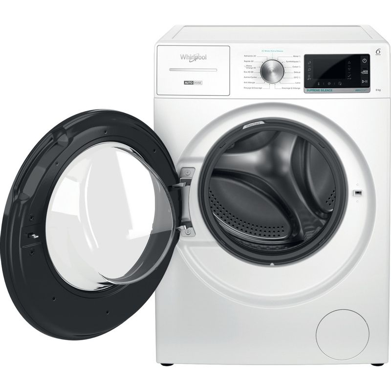 Whirlpool-Lave-linge-Pose-libre-W8-W846WB-FR-Blanc-Lave-linge-frontal-A-Frontal-open
