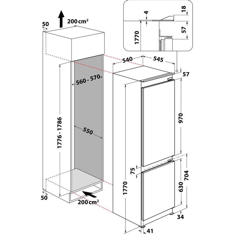 Whirlpool-Combine-refrigerateur-congelateur-Encastrable-WHC18-T332-P-Blanc-2-portes-Technical-drawing