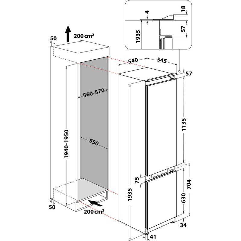 Whirlpool-Combine-refrigerateur-congelateur-Encastrable-WHC20-T573-P-Blanc-2-portes-Technical-drawing