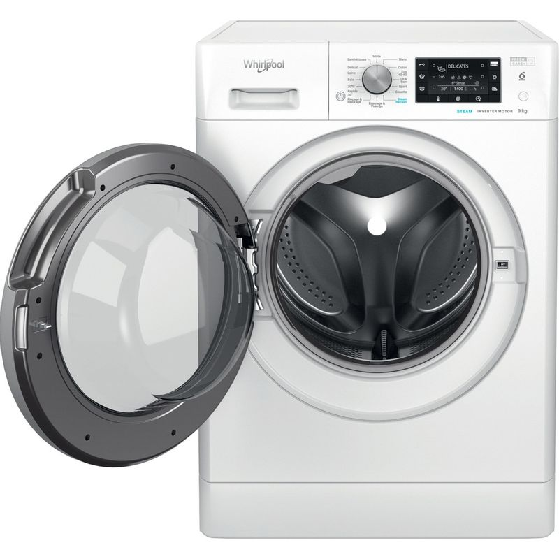Whirlpool-Lave-linge-Pose-libre-FFDD-9458-BSV-FR-Blanc-Lave-linge-frontal-B-Frontal-open
