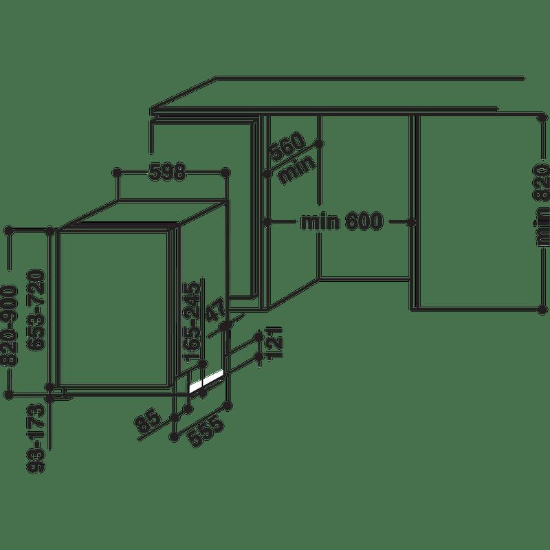 Whirlpool-Lave-vaisselle-Encastrable-WIO-3P23-PL-Tout-integrable-A---Technical-drawing