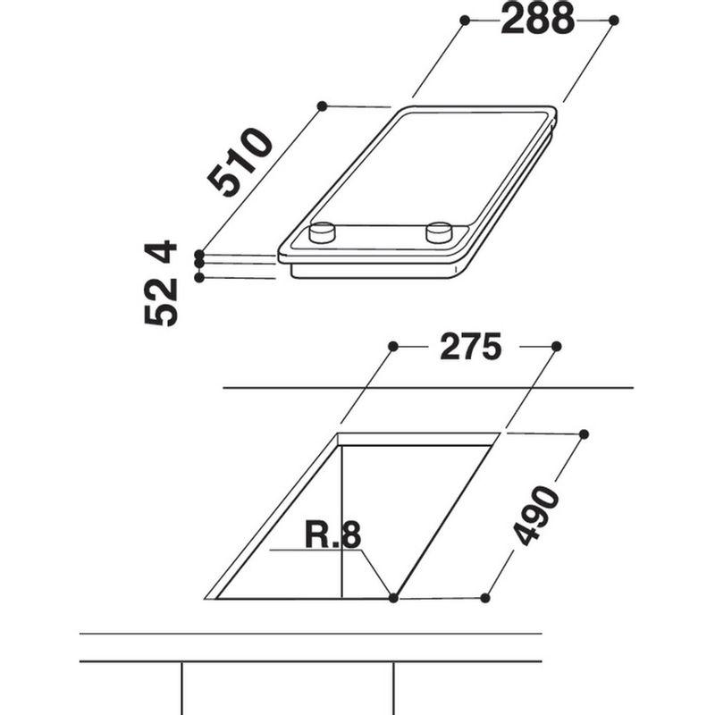 Whirlpool-Table-de-cuisson-ACM-712-IX-Noir-Induction-vitroceramic-Technical-drawing