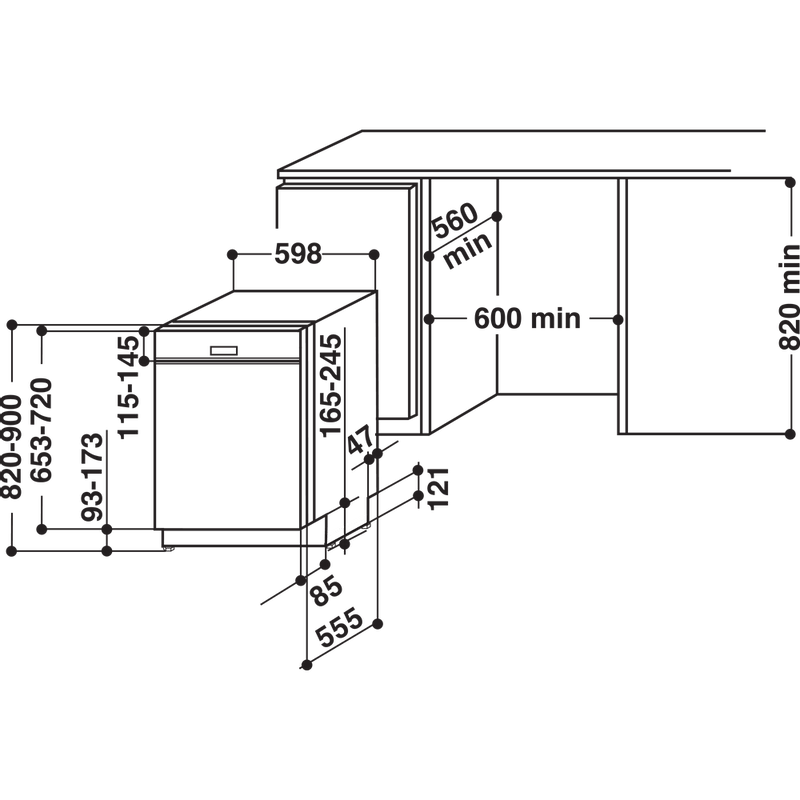 Whirlpool-Lave-vaisselle-Encastrable-WBO-3T123-PF-X-Semi-integre-A---Technical-drawing