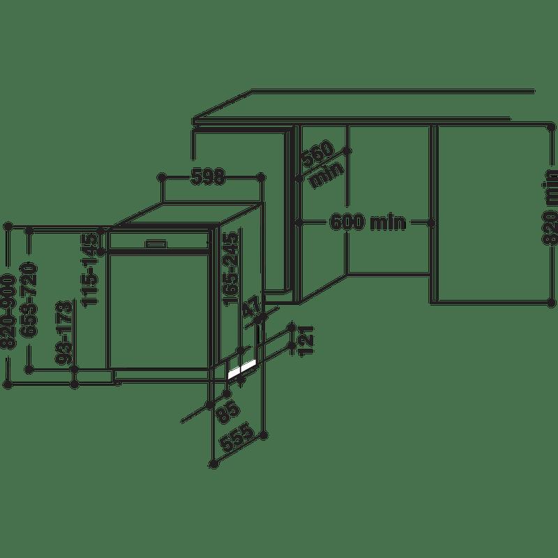 Whirlpool-Lave-vaisselle-Encastrable-WBC-3C24-P-B-Semi-integre-A---Technical-drawing