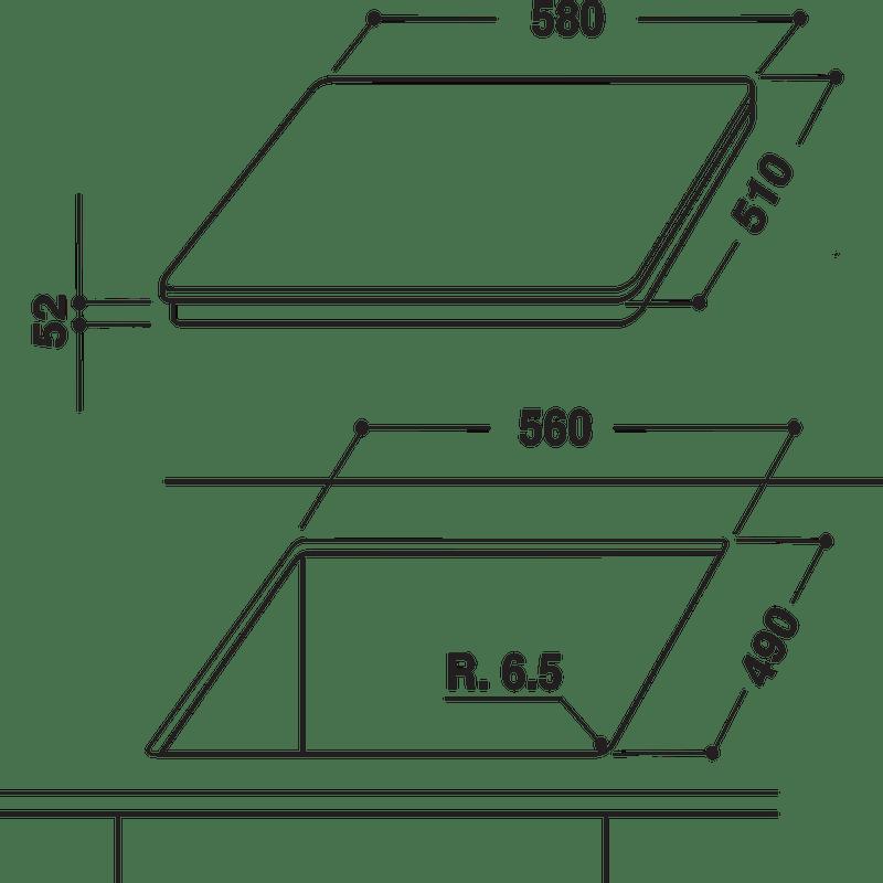 Whirlpool-Table-de-cuisson-ACM-826-NE-IXL-Noir-Induction-vitroceramic-Technical-drawing
