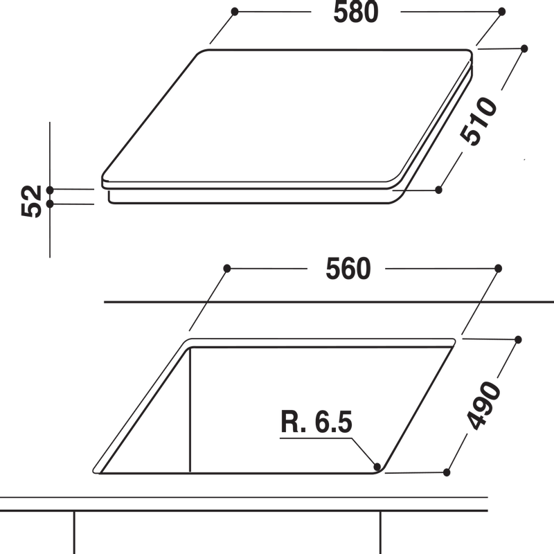 Whirlpool-Table-de-cuisson-ACM-921-BF-Noir-Induction-vitroceramic-Technical-drawing