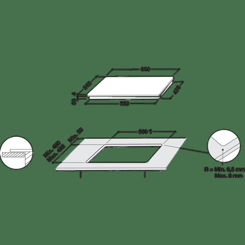 Whirlpool-Table-de-cuisson-SMC-653-F-BT-IXL-Noir-Induction-vitroceramic-Technical-drawing