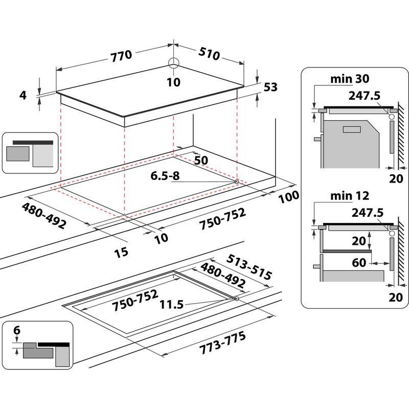 Whirlpool-Table-de-cuisson-SMP-778-C-NE-IXL-Noir-Induction-vitroceramic-Technical-drawing