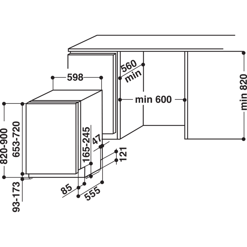 Whirlpool-Lave-vaisselle-Encastrable-WIO-3O239-PG-E-Tout-integrable-A---Technical-drawing