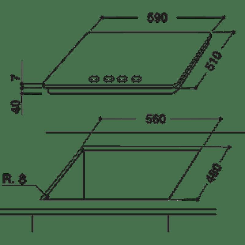 Whirlpool-Table-de-cuisson-GMW-6422-IXL-FR-Inox-Ixelium-Gaz-Technical-drawing