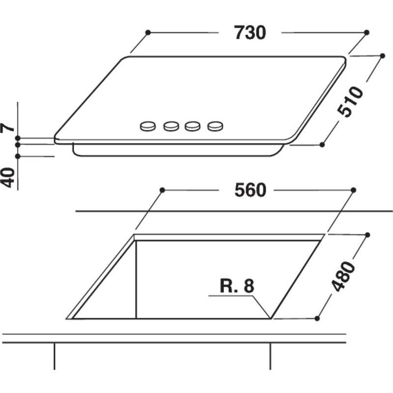 Whirlpool-Table-de-cuisson-GOW-7553-NB-FR-Noir-Gaz-Technical-drawing