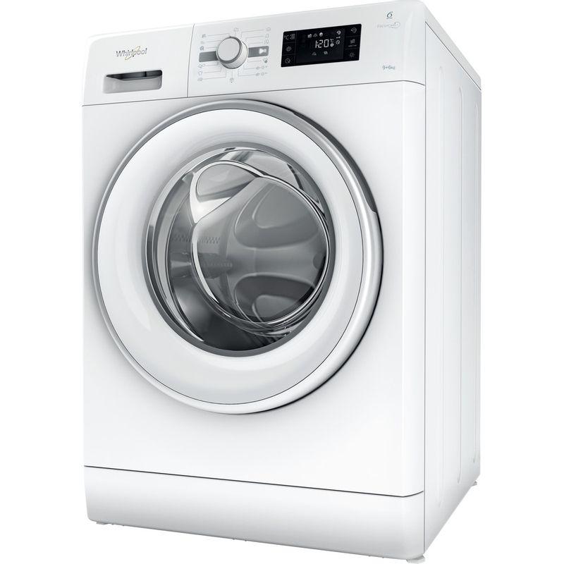 Whirlpool-Lavante-sechante-Pose-libre-FWDG96148WS-EU-Blanc-Lave-linge-frontal-Perspective