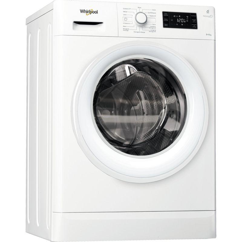 Whirlpool-Lavante-sechante-Pose-libre-FWDG86148W-FR-Blanc-Lave-linge-frontal-Perspective