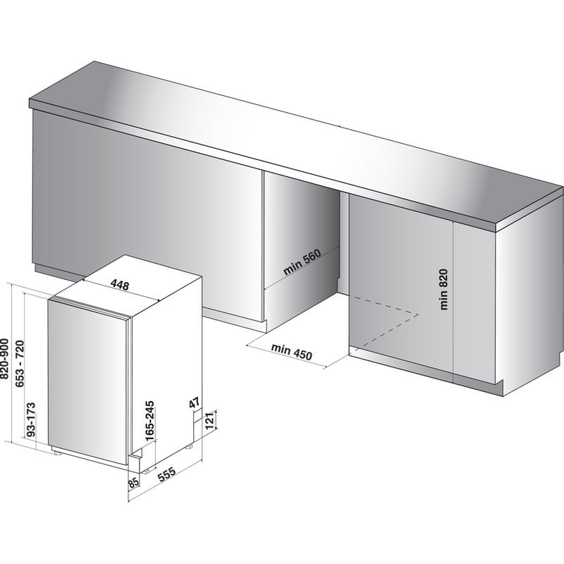 Whirlpool-Lave-vaisselle-Encastrable-WSIP-4O23-PFE-Tout-integrable-A---Technical-drawing