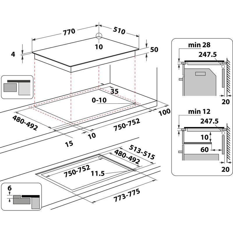 Whirlpool-Table-de-cuisson-WF-S0377-NE-IXL-Noir-Induction-vitroceramic-Technical-drawing
