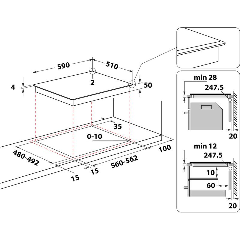 Whirlpool-Table-de-cuisson-WS-B2360-BF-Noir-Induction-vitroceramic-Technical-drawing