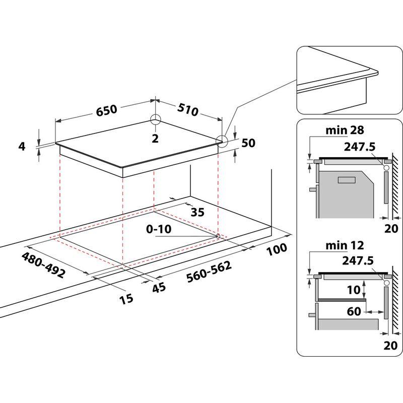 Whirlpool-Table-de-cuisson-WL-B3965-BF-IXL-Noir-Induction-vitroceramic-Technical-drawing