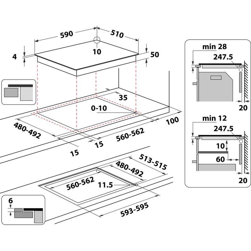 Whirlpool-Table-de-cuisson-WS-Q2160-NE-Noir-Induction-vitroceramic-Technical-drawing